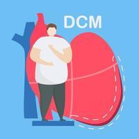 conceito de cardiomiopatia dilatada com homem na frente do coração