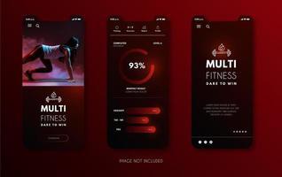 modelo de aplicativo móvel vermelho brilhante vetor