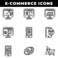 E-Commerce Shopping Icons Including Payment and Cart vector