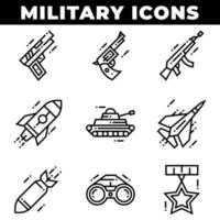 Military Elements and Weapons Icons Including Missile vector