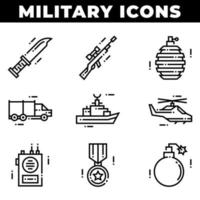 Military Elements and Weapons Icons Including Grenade vector