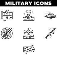 Military Elements and Weapons Icons Including Submarine vector