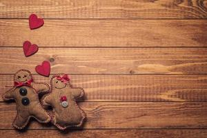 Textile toys in the shape of gingerbread on Valentine's Day