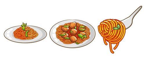 conjunto de refeição de espaguete vetor