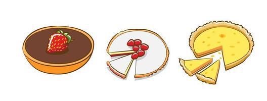 Various Tart Pies Set vector