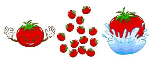 Smiling Red Tomato with Other Tomatoes Set vector