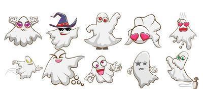 Cartoon Halloween Ghost Set vector