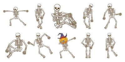 conjunto de esqueleto dançando