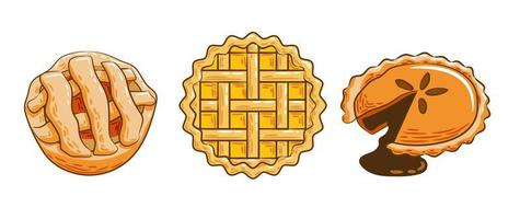 Various Types of Full Pies Set vector