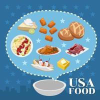 cartaz de comida americana vetor