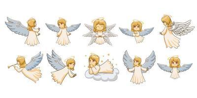 conjunto de desenhos animados de anjo vetor