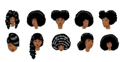 African American Woman Set  vector