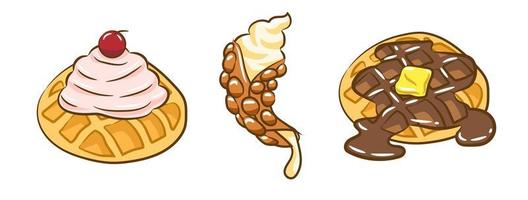 Waffle Set with Sweet Syrup and Whipped Cream vector