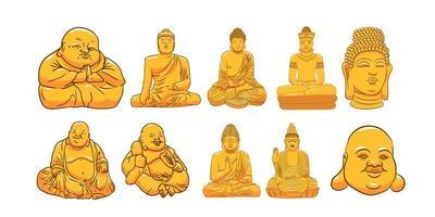 Buddha Statue Set  vector