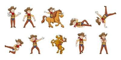 Cowboys in Various Poses Set vector