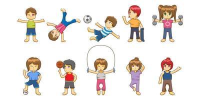 niños haciendo ejercicio vector