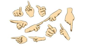 Pointing Hands Set vector