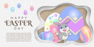 Happy Easter Background with Rabbit and Eggs vector