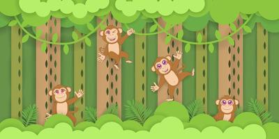 Monkeys Playing in Tropical Forest vector