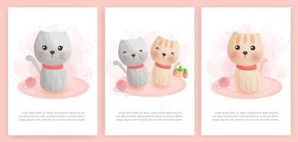cartão em aquarela com gatos bonitos