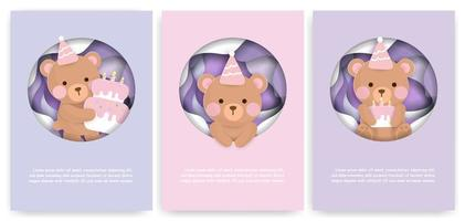 Paper Cut Card Set with Cute Birthday Bears vector