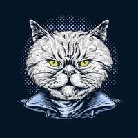 Hand Drawn Cat Wearing Jacket vector
