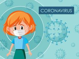Diseño de carteles de coronavirus con máscara de niña de cabeza roja con máscara