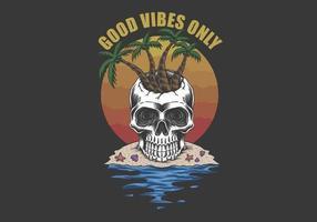 Skull beach Good vibes only vector