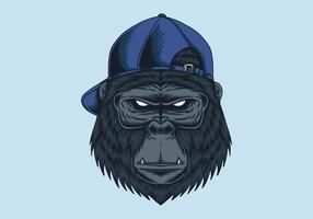 boné de cabeça de gorila vetor