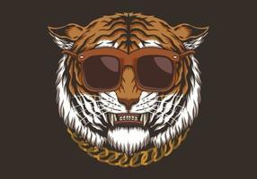 Tiger head with eyeglasses  vector