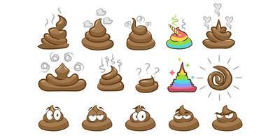 conjunto de emoji de caca vector
