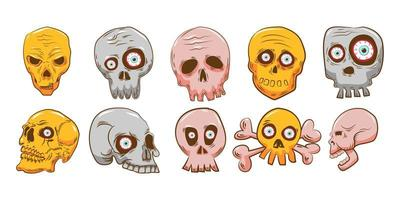 Cartoon Scary Skull Set  vector