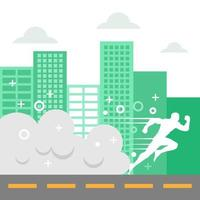 White Silhouette of Man Running Through City vector