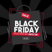 Viernes negro con diseño de bolsa de compras en banner negro vector