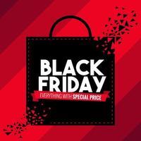 banner de venta de bolsa de compras de viernes negro vector