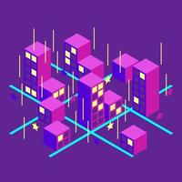 Isometric City at Night vector