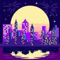 Purple City Skyline in Front of Full Yellow Moon vector