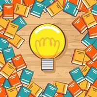 diseño educativo de libros y bombillas