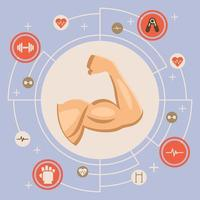Muscle Arm Flexing in Circle with Surrounding Icons vector
