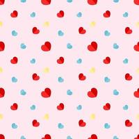 Colorful Paper Hearts Seamless Pattern