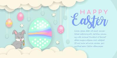 Happy Easter Background with Eggs Hanging from Clouds vector