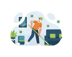 Janitor Cleaning The Room vector
