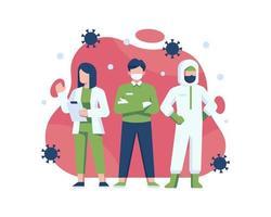 coronavirus superhéroes médicos vector