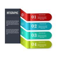 Infografía colorida de cuatro pasos envolviendo la esquina