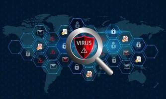 Magnifying glass checking virus on digital world