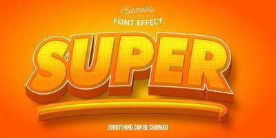Editable font effect with yellow orange gradient vector