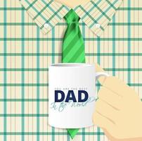 Close Up of Man Holding Mug for Father's Day vector