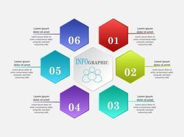 Infográfico de hexágono com 6 etapas