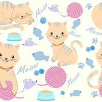 Cute cat with yarn and toys seamless pattern vector