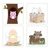 Cute animal cartoon set